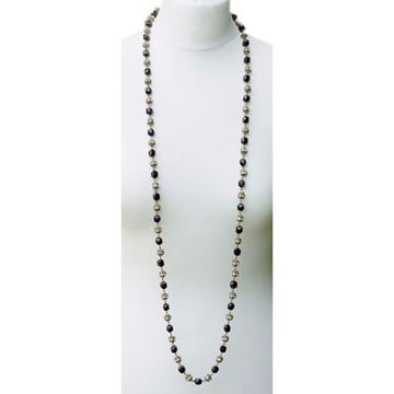 Vintage 1930s Long French Jet & Rhinestone Necklace