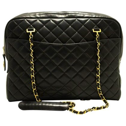 Chanel 1990s Black Quilted Lambskin Zip Top Shoulder Bag