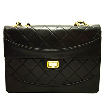 Chanel Leather Black Flap Quilted Lambskin Chain Shoulder Bag