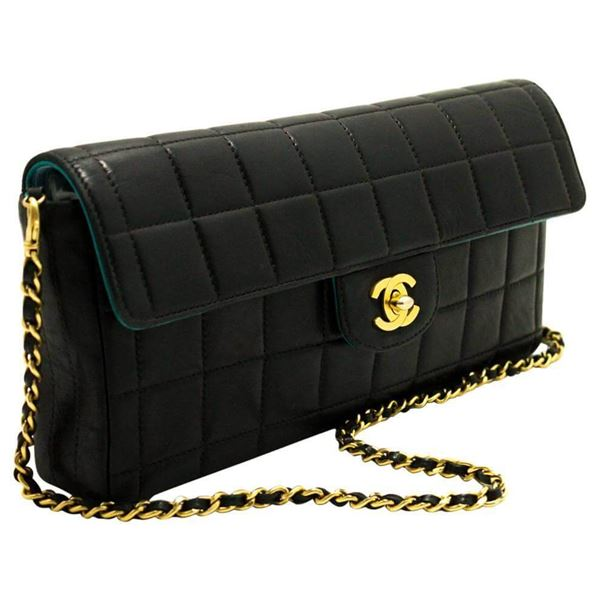 Chanel Chocolate Bar Quilted Black Clutch Shoulder Bag | Open for ... : chanel quilted black handbag - Adamdwight.com