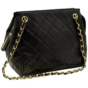 Chanel Caviar Leather Black Small Chain Shoulder Bag