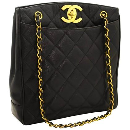Chanel 1990s Quilted Caviar Leather Black Tote Bag