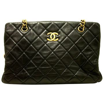 Chanel Quilted Leather Black CC Crown Small Tote Bag