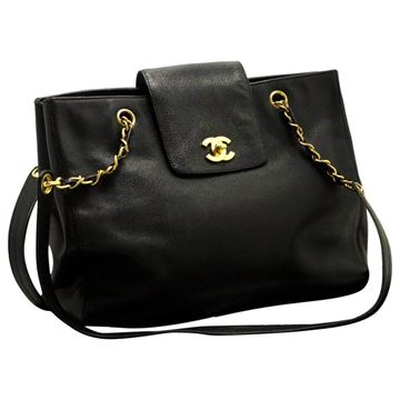 Chanel 1990s Caviar Leather Large Black Tote Bag