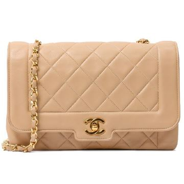 Chanel 1990s Quilted Leather Beige Flap Bag