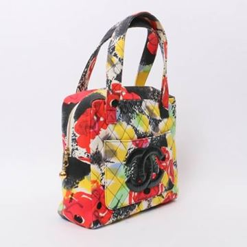 Chanel 1990s Quilted Floral Print Red Handbag