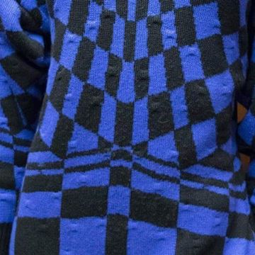 Gianni Versace 1980s Abstract Checkerboard Batwing Purple Vintage Sweater