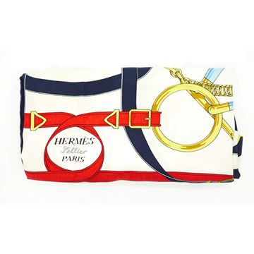 Hermes Eperon D'Or Silk White Navy & Red vintage scarf