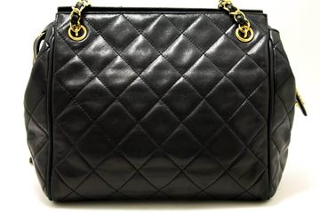 Chanel 1990s Quilted Lambskin Leather Zip Top  Tote Bag