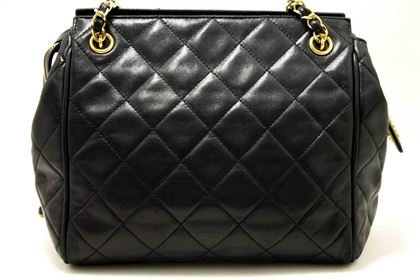 Chanel Chain Shoulder Bag Black Small Quilted Lambskin Leather