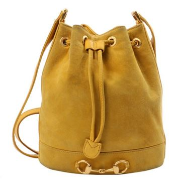 Gucci Yellow Suede Drawstring Bucket Bag