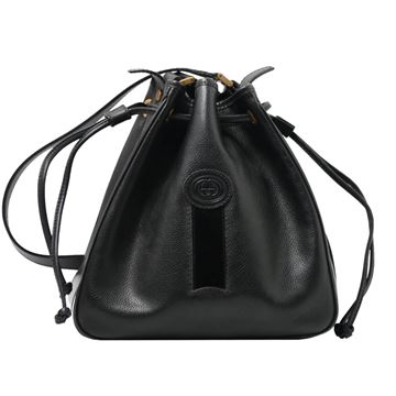 Gucci Black Logo Embossed Bucket Bag