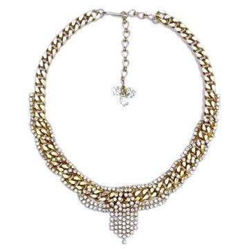 Hobe 1950s Gold Tone Link & Rhinestone Vintage Collar Necklace