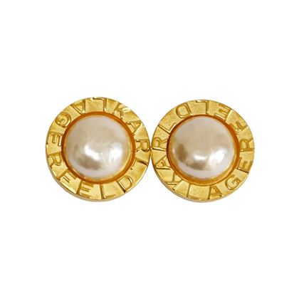 Karl Lagerfeld 1990s Faux Pearl & Gold Tone Signature Vintage Earrings