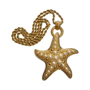 Christian Dior 1990s Starfish Statement Gold Tone Vintage Necklace