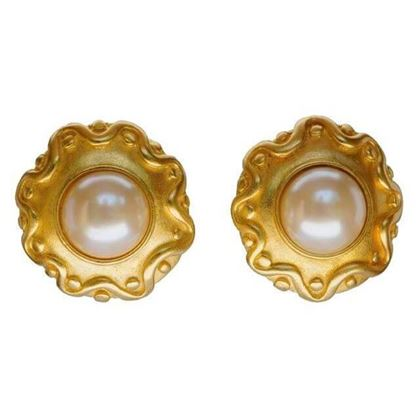 Picture of Kenneth Jay Lane 1990s Gold Tone & Faux Pearl Vintage Earrings
