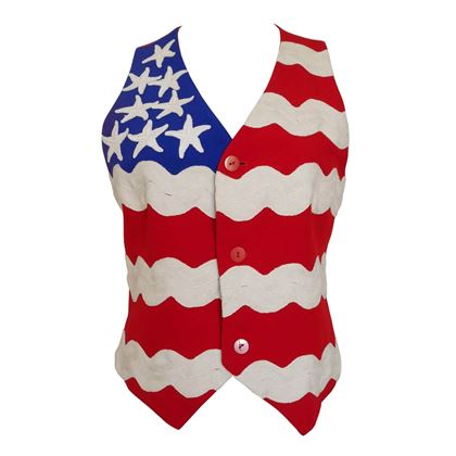 Moschino 1990s Stars & Stripes Red and Blue Vintage Waistcoat