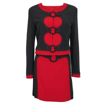 "Moschino 1990s Black and Red ""Hoop"" Vintage Skirt Suit"