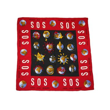 Moschino 1990s SOS Save Our Sphere Red and Black Silk Vintage Scarf