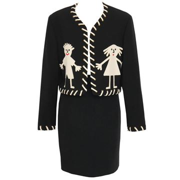"Moschino 1990s ""Stickman"" Black Vintage Skirt Suit"