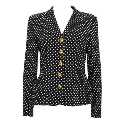 Moschino Couture! 1990s Black & White Polka Dot Vintage Jacket