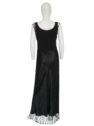 Moschino 1990s Crochet Beaded Fishnet Black Vintage Evening Dress