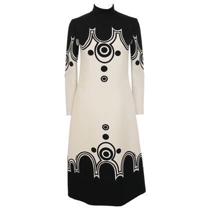 Louis Feraud 1960s Graphic Space Age Design Cream & Black Vintage Midi Dress