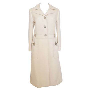 Louis Feraud 1960s Space Age Button Cream Vintage Coat