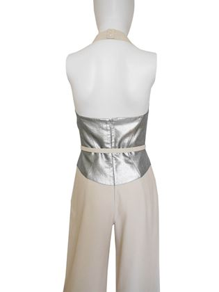 Thierry Mugler 1990s Silver Bodice Vintage Evening Jumpsuit