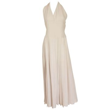 Christian Dior AW 1972 Haute Couture Cream Pleated Evening Dress
