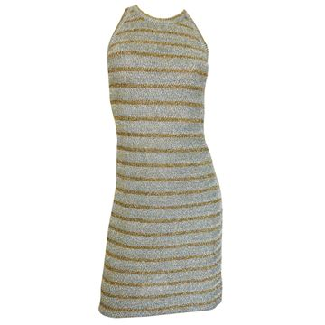 Pierre Balmain 1960s Striped Gold & Metallic Blue Lurex Knitted Vintage Mini Dress