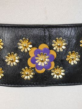 Moschino Redwall Floral Applique Black Leather Vintage Belt
