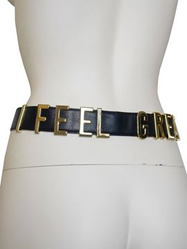 """Moschino Redwall 1980s """"I FEEL GREAT"""" Black Leather Vintage Belt"""