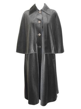 Louis Feraud 1960s to 1970s Velvet Grey Redingote Coat Size