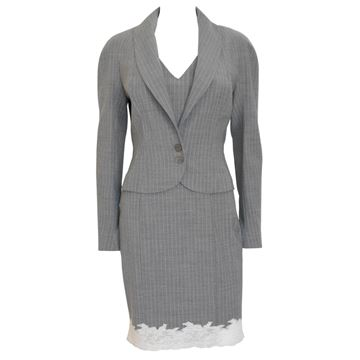John Galliano 1990s Pinstripe Grey Dress Suit