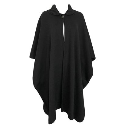 Valentino 1970s Wool Knit Black Cape