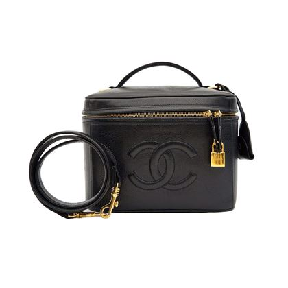 Chanel 1990s Caviar Leather Black Vanity Case Bag
