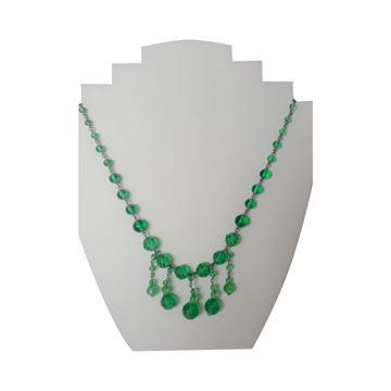 Vintage 1930s Art Deco Faceted Green Drop Bead Necklace