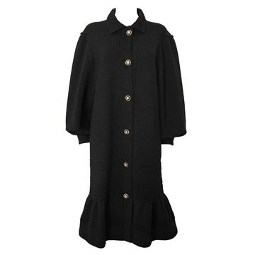 Albertina Roma 1980s  Frill Hem Knitted Black Coat Dress