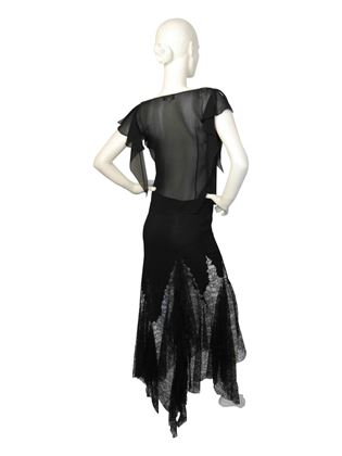 Gianni Versace Couture 1990s Silk Chiffon & Lace Black Top & Skirt