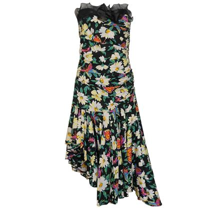 Emanuel Ungaro 1980s Floral Black Cocktail Dress