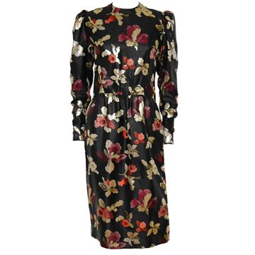 Givenchy 1970s Floral Brocade Black Evening Cocktail Dress