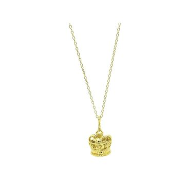 Vintage 1950s Royal Crown Charm Gold Necklace