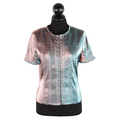 Chanel Iridescent Changing Lame Short Sleeve Jacket Zip Front Size 40