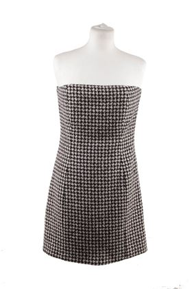 Christian Dior Houndstooth Wool Cashmere Bustier Dress Size 44