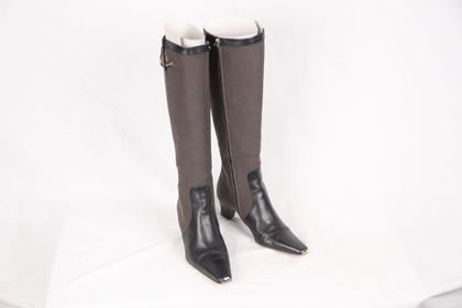 gucci-taupe-fabric-heeled-boots-w-leather-toes-size-37-2