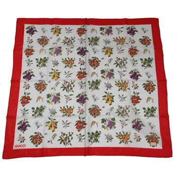 Gucci White Flowers & Fruits Cotton Scarf