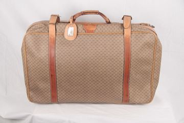 Gucci Tan Monogram Canvas Suitcase Travel Bag Luggage