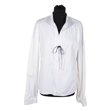 Gucci White Cotton Collarless Blouse