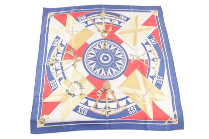 hermes-paris-blue-silk-scarf-sextants-1981-by-loic-dubigeon-4